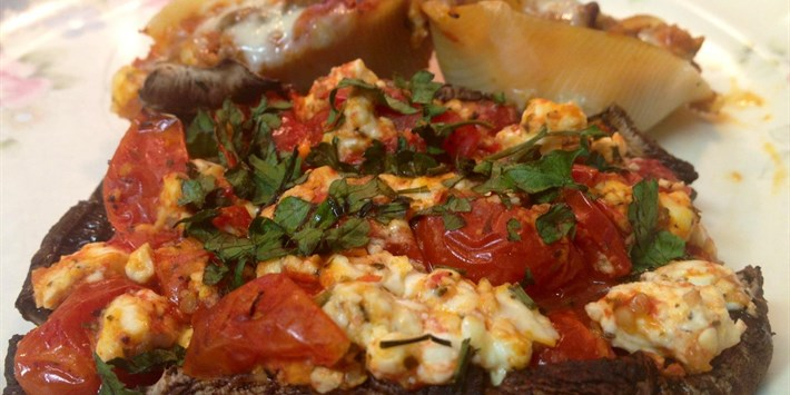 Stuffed Portobello Mushrooms With Roast Tomatoes and Feta Cheese