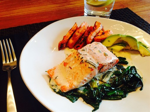 Pan-Seared Salmon on Spinach in Tarragon Sauce