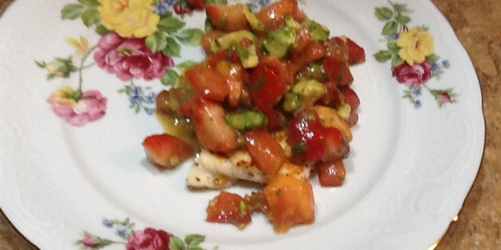 Grilled Haddock with Strawberry Cilantro Salsa