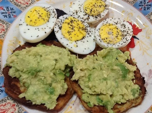 Cauliflower Flat Bread with Eggs and Avocado