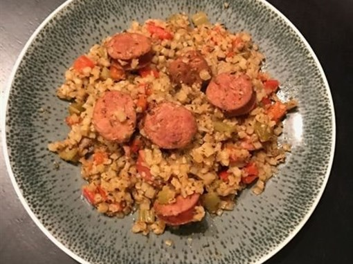 Dirty Cauliflower Rice with Andouille Sausage