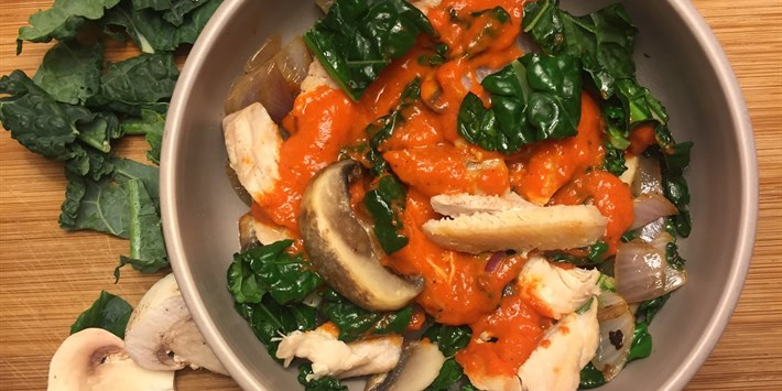 Chicken Bowl with Roasted Red Pepper Sauce