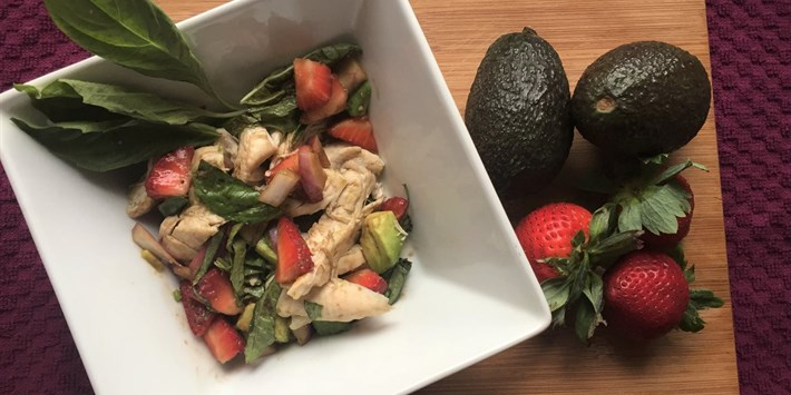 Chicken with Strawberry Basil Avocado Salsa